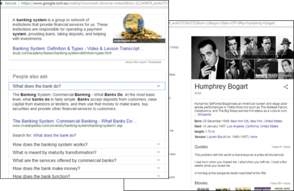 Examples of knowledge graphs in Google